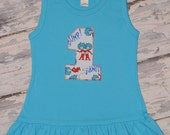 Thing 1 and Thing 2 First Birthday Baby Girl's Turquoise Tank Ruffle Dress Size 12-18 months...Ready to ship