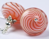 Peppermint Dreams- Red and White Swirly Handblown Glass Earrings