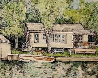 HOUSE PORTRAIT - Custom Original Pen and Watercolor Painting of Your Home
