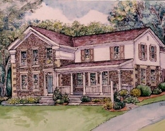 Custom House Portrait - Pen&Ink and Watercolor  by Patty Fleckenstein