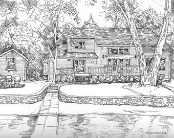 Custom HOME Portraits, Pen/Ink and Watercolor,Your House Painted,House Pen and Ink,Hand drawn and Painted Original Home Portraits