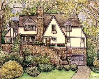House Portraits-Watercolor and Pen/Ink-Original Custom Portrait of Your Home-Architectural renderings