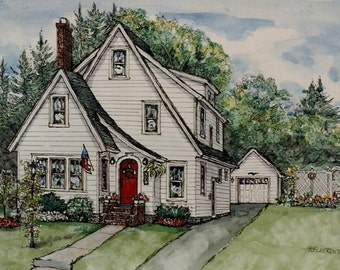 Watercolor House Portrait ,Pen/Ink with Watercolor-House Painting-Original Portrait of Your Home-House Illustration by Patty Fleckenstein