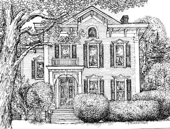 Pen And Ink House Drawing Watercolor House Portrait Original