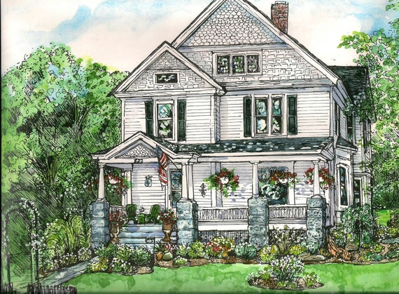 House Portraits - Pen/Ink and Watercolor - Original Custom Portrait of Your Home-Anniversary,Birthday,Childhood Home,Family Heirloom