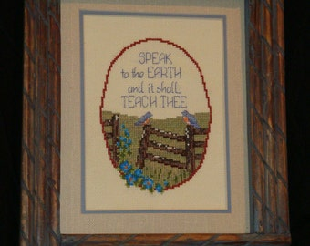 Nature Picture, cross stitched earthy nature picture, natural framed birds, country motif, framed art,  home decor,family room/den decor