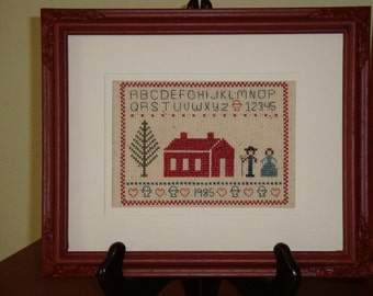 Matted and framed vintage picture, vintage framed picture, counted cross stitched vintage framed picture, vintage sampler, hand stitched,