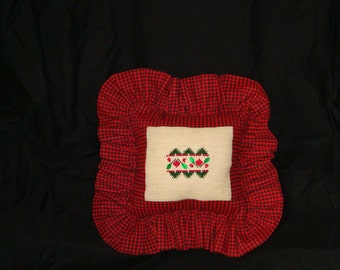 Christmas pillow, holiday decoration, holly and crystals small pillow, pillow tuck, holiday counted cross stitched, hand stitched