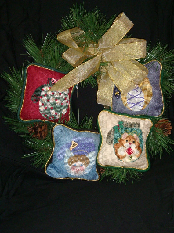 Cross stitched Pillow Wreath ,ornamental wreath,Front door wreath, holiday pillow wreath, Christmas wreath, home decor