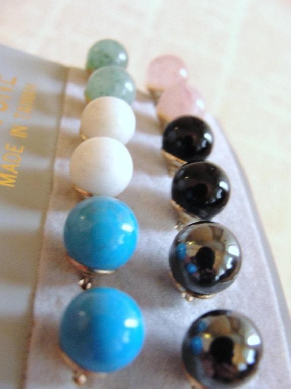 6 pair of true stone stud earrings