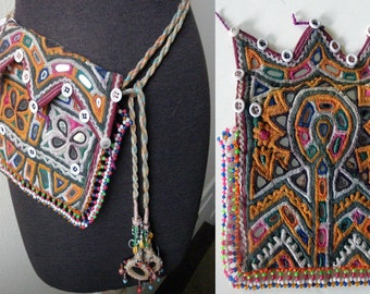 Antique Hand Embroidered Indian Rajastan Gipsy Dowery Bag and Camel Tassel Belt