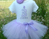 Lavender Dot Birthday Candle Tutu Outfit PERSONALIZED