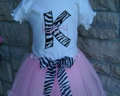 Zebra and Light Pink Block Letter or Number Pettitu Outfit