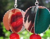 Paper Earrings -- Recycled Geometric Graphic Pop Pod Dangles