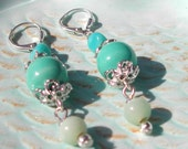 Ceramic And Glass Dangling Earrings--Beach Vacation Chic