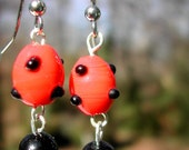 Lampwork Glass Earrings--Prickly Pear in Red and Black