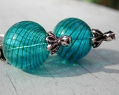 Hollow Blown Glass Beaded Earrings - Blue And Green Stripes