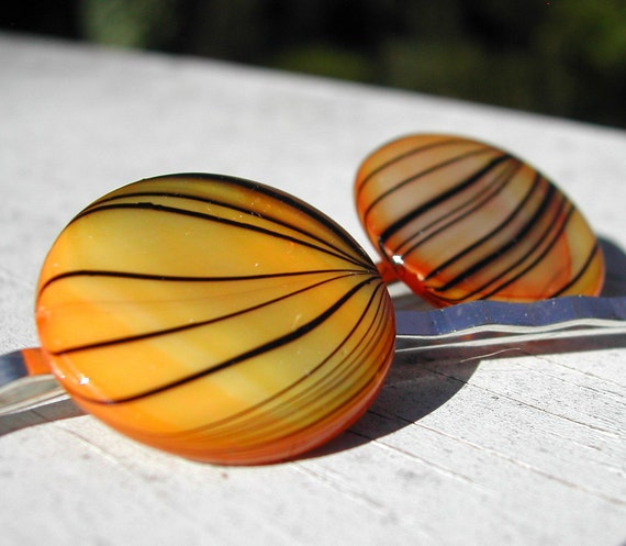 Yellow Shell Bobby Pins With Black Stripes