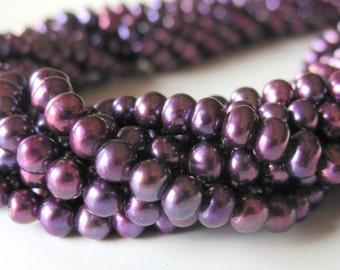 Purple Pearls, Freshwater Pearls, Little Pearls, Small Pearls, Seed Pearls, Genuine Pearls, Potato Pearls 3.5mm - 4mm - Full Strand
