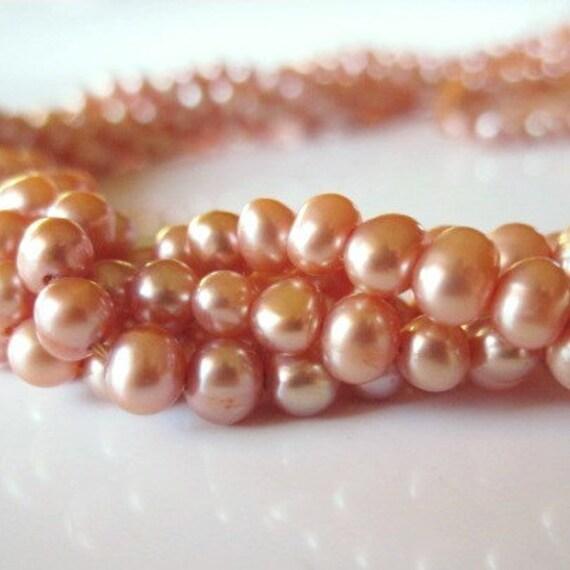 Peach Pearls, Freshwater Potato Pearls Apricot 4mm - Full Strand