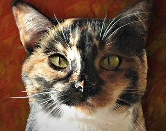Custom Cat Portrait on 8 x 10 Canvas or Art Paper. Stretched or Mounted.