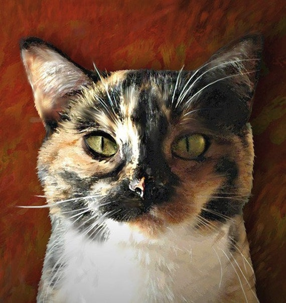 Custom cat portrait on 8 x 10 canvas or art paper stretched for Cat paintings on canvas