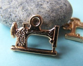 9 pcs of Gold Plated Vintage Style Sewing Machine Charms    15x19mm  A868