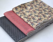 Contoured or Rectangular Burp Cloths (YOU CHOOSE) - Gender Neutral Set - Sock Monkeys, Grey Polka Dots, Red and White Stripes - Baby Gift