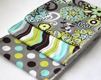 Baby Burp Cloths - Set of Three Chenille Burp Rags - Grey, Lime Green, Turquoise Floral -GENDER NEUTRAL -New Baby Gift - Boutique Burp Cloth