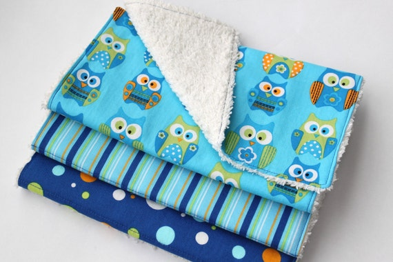 Set of Three Chenille Burp Cloths - Baby Boy Burp Cloths - Blue and Green Owls, Stripes, and Polka Dots