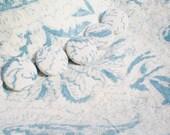 Vintage Fabric Buttons Blue Cream Cotton Print