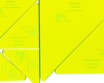 Set of Six Triangle acrylic quilt templates.