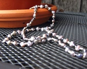 SALE - Peacock Grey Freshwater Pearl Necklace