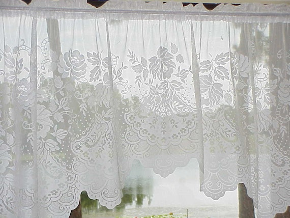 BEAUTIFUL Vintage LACE  CURTAIN 74 Wide