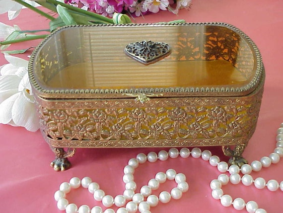 Vintage Large Gold Filigree Footed Jewelry Box