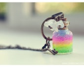 Rainbow bottle Necklace. Glitter Rainbow gel and Flowers,Glass Vial Necklace. Glass Bottle Pendant.Rainbow Necklace,Miniature bottle,potion