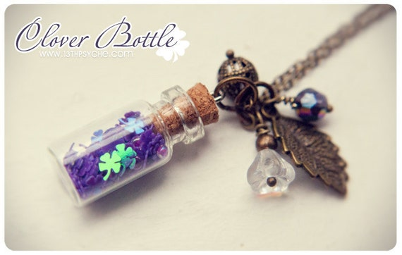 Little Purple Clover glass Bottle pendant.With lead and beads. Glass vial necklace. Miniature bottle necklace. cute purple necklace