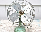 Vintage Desk Fan Cast Iron Turquoise