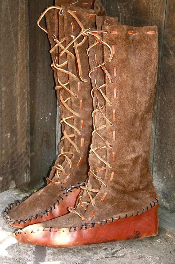 Native american moccasins knee high handmade leather by objectsdeart