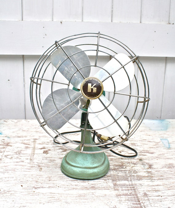 Vintage Table Fan : Vintage desk fan cast iron turquoise by trailerkitschdecor