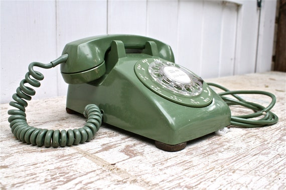Vintage 1970 Rotary Desk Phone Green