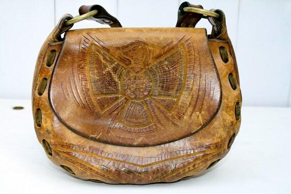 Vintage Leather Tooled Purse Hippie Bag