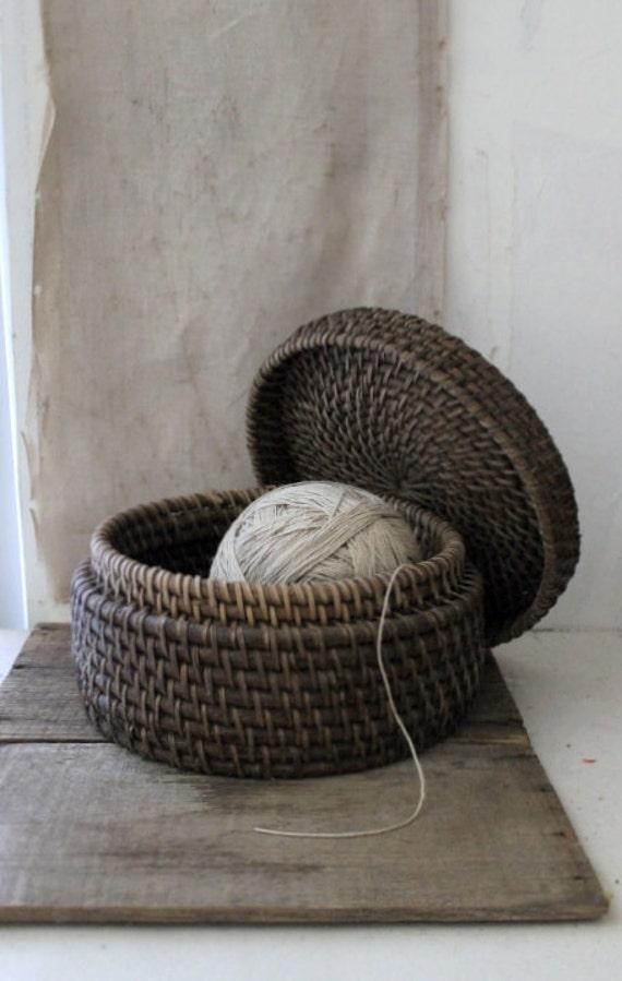 vintage round lidded basket