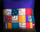"""Throw Pillow, Hand Painted Silk - """"""""Purple Elements""""  Made to Order"""