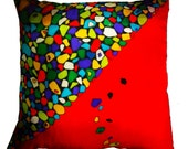 """Throw Pillow,  Hand Painted Silk - """"Rocky Road"""" - Made-To-Order"""