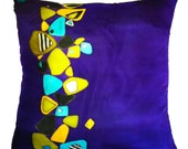 """Hand Painted Silk Throw Pillow -  """"Rocky Road"""" made-to-order"""