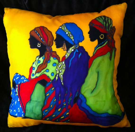 LADIES IN WAIT - Decorative Hand Painted SilkT Pillow- made-to-order