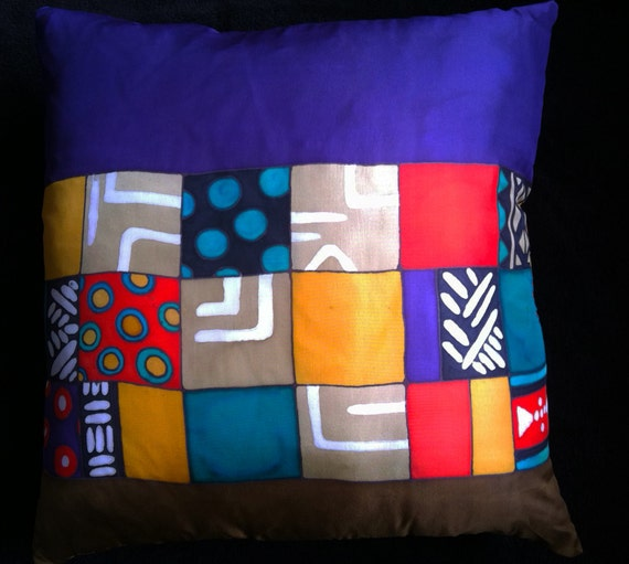 PURPLE ELEMENTS -Hand Painted Silk Decorative Pillow -  Made to Order