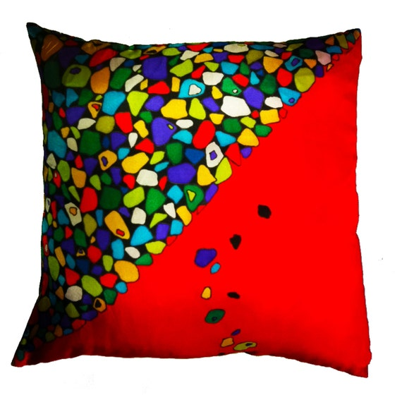 ROCKY ROAD - Hand Painted Silk Decorative Pillow - Made-To-Order