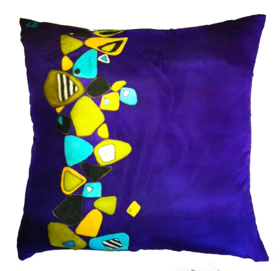 FALLEN ROCKS - Hand Painted Silk Decorative Pillow - made-to-order